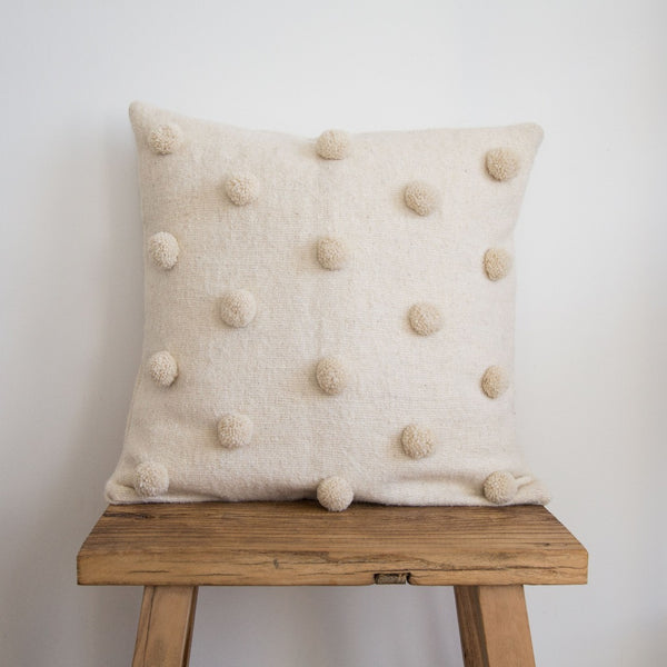 Pom Pom Cushion Cover - Ivory