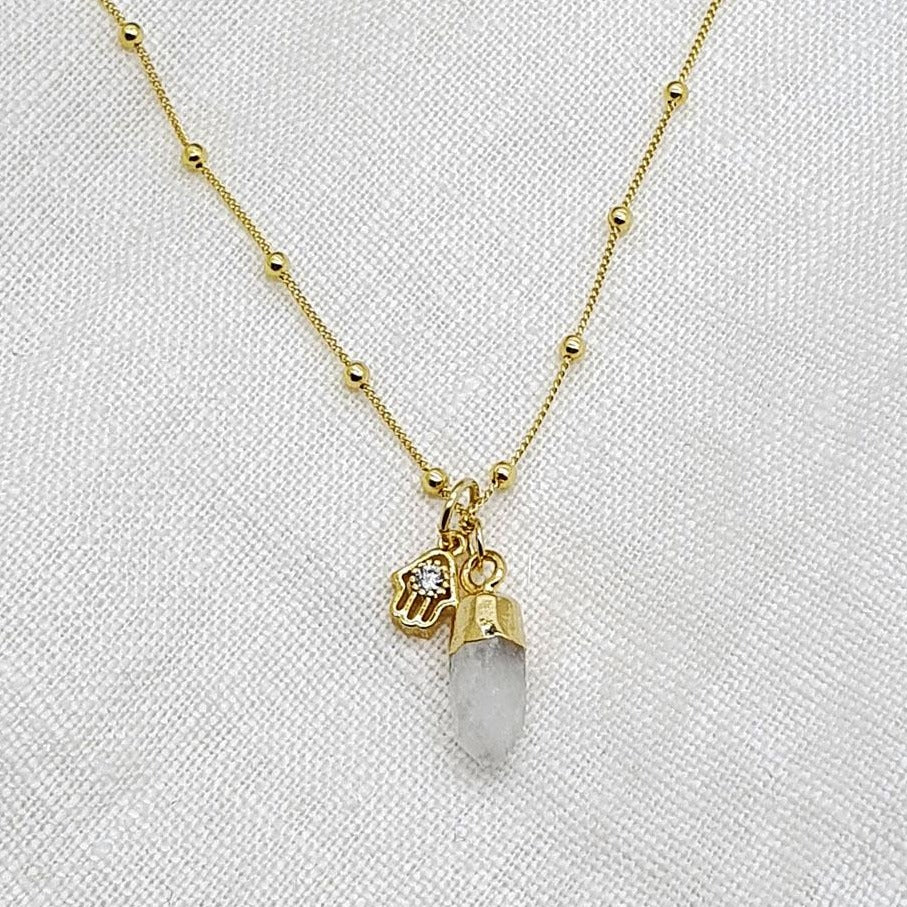 moonstone hamsa necklace