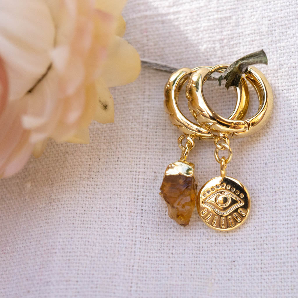 Citrine and eye chain hoops