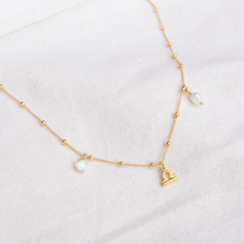 Libra | Opal + Pearl Charm Necklace