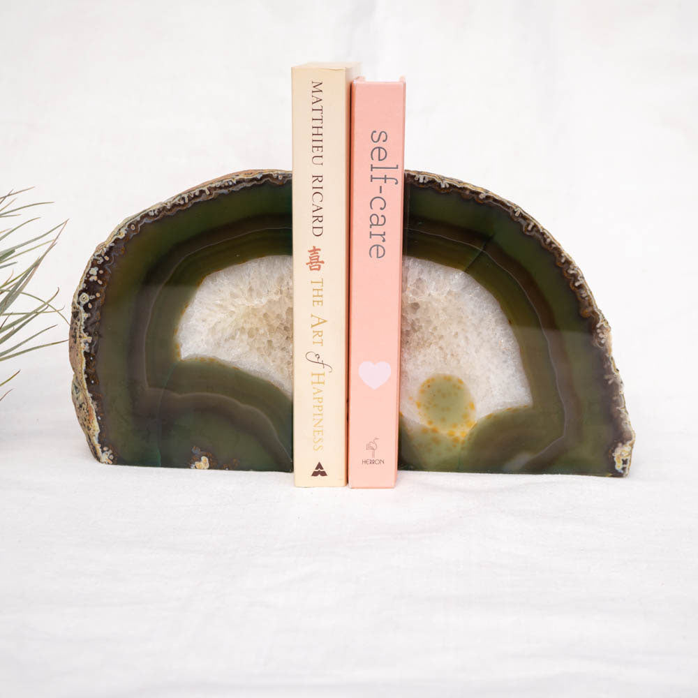 Agate crystal bookend