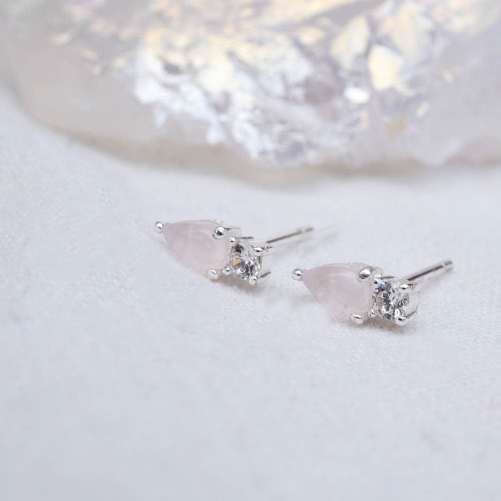 Rose Quartz Sterling Silver Studs