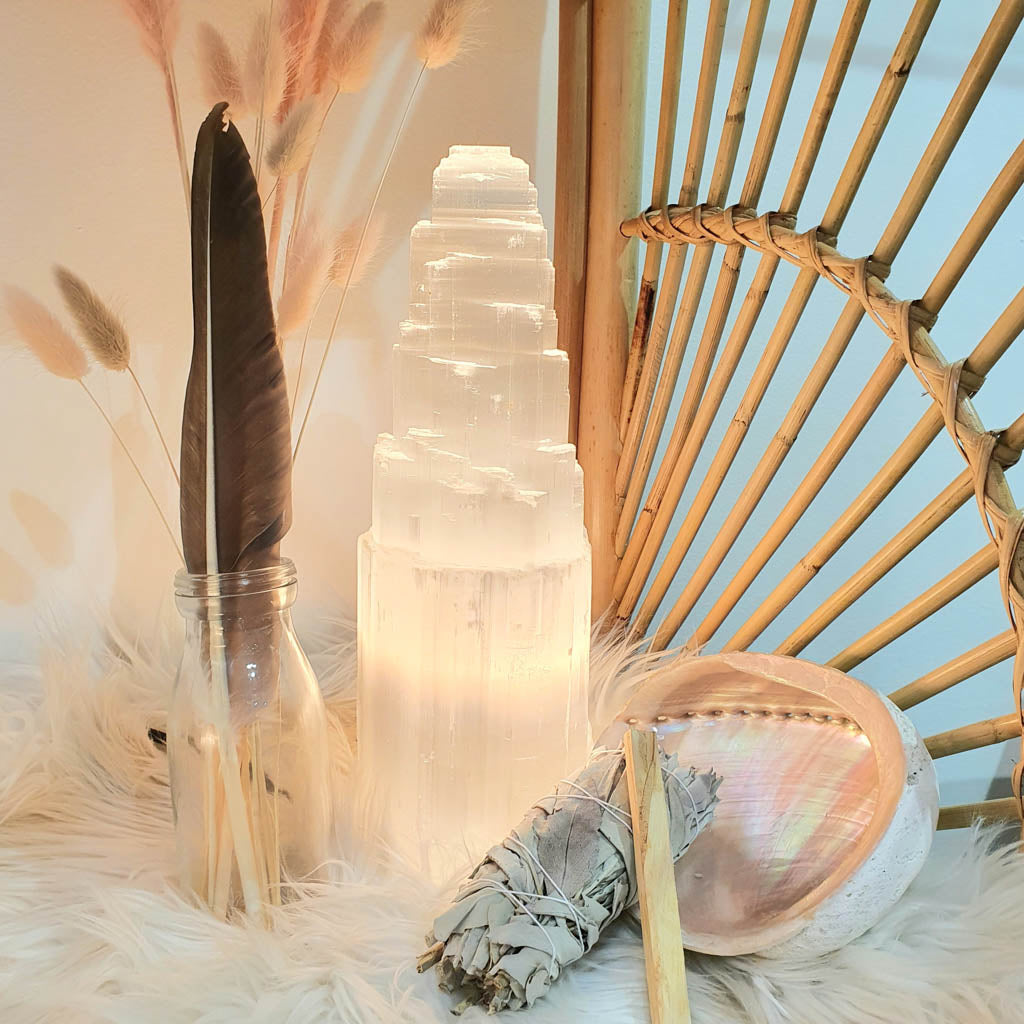 Selenite Lamp and Smudge Sticks
