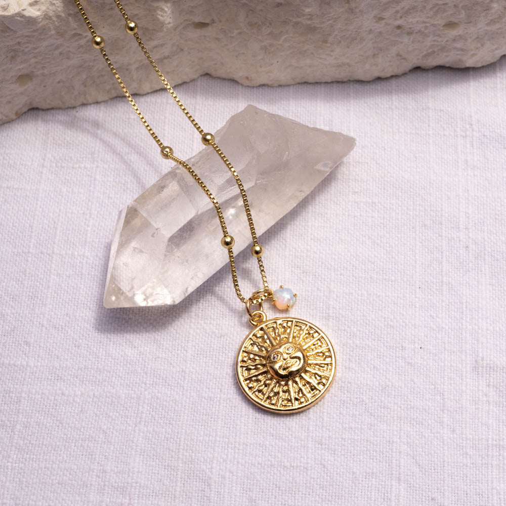 Sun medallion with Opal Necklace
