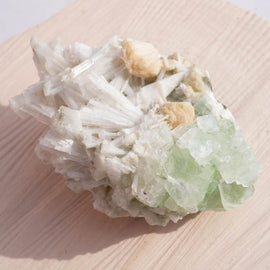 Apophyllite with Peach Stilbite and Scolocite Crystal Cluster