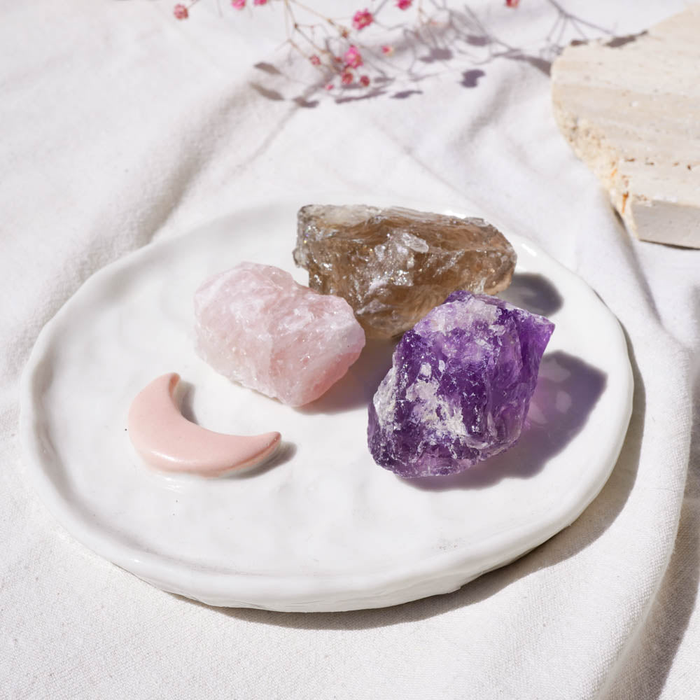 rose quartz, amethyst, smoky quartz crystal roughs