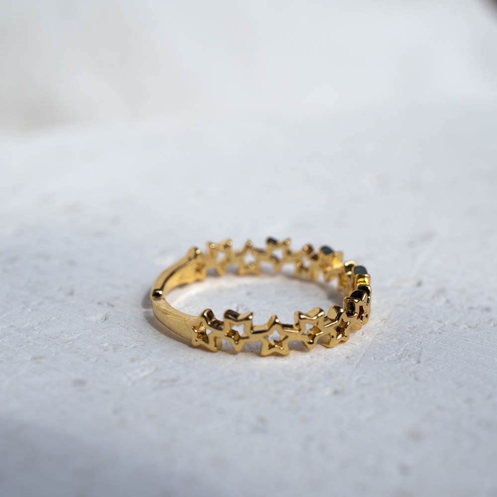Stars Gold Plated Adjustable Ring