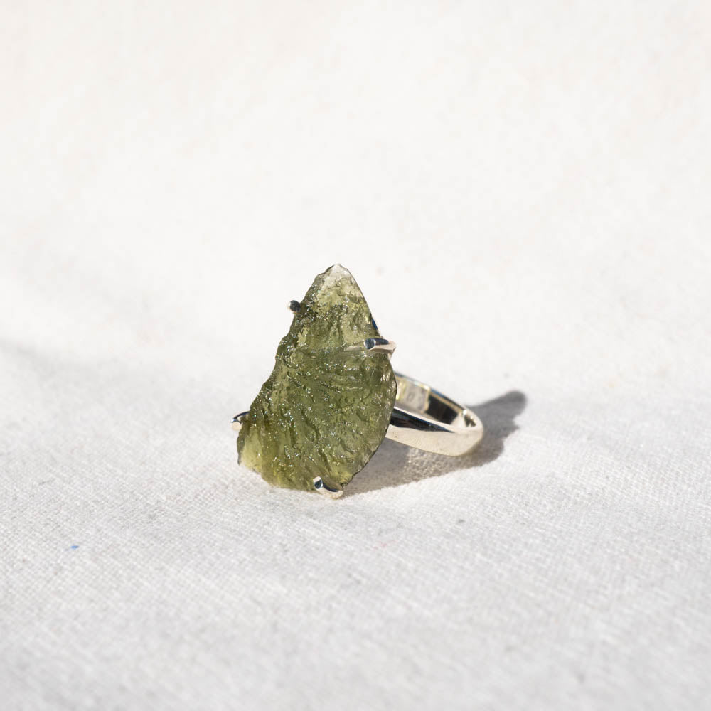 Moldavite Sterling Silver Ring