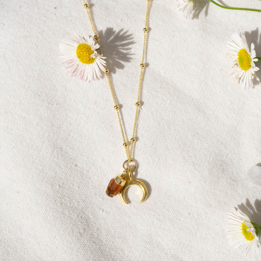 Citrine Joyful Moon Necklace