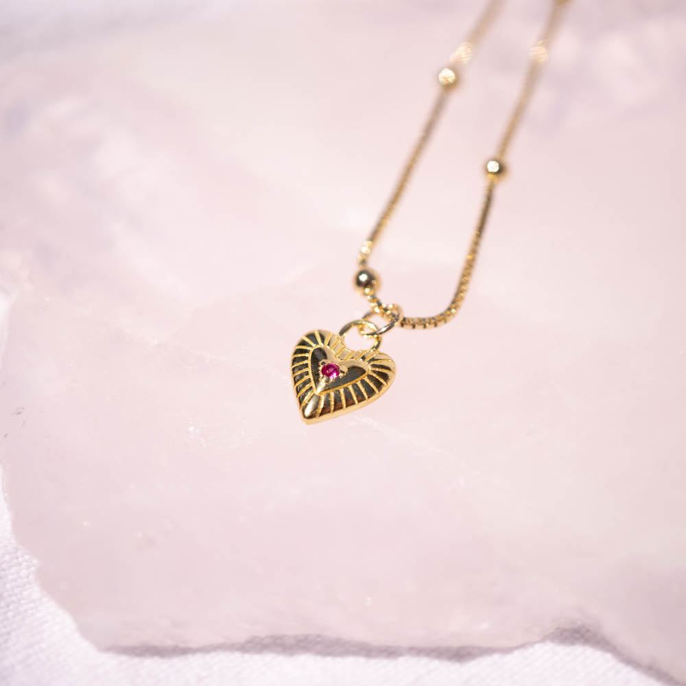 Ruby Heart Gold Vermeil Necklace