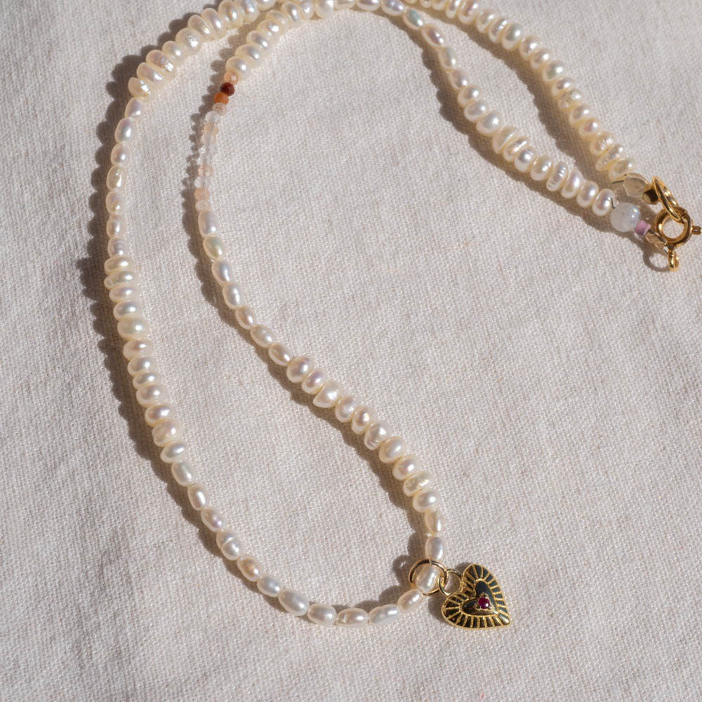 Pearl Necklace with Ruby Gold Heart