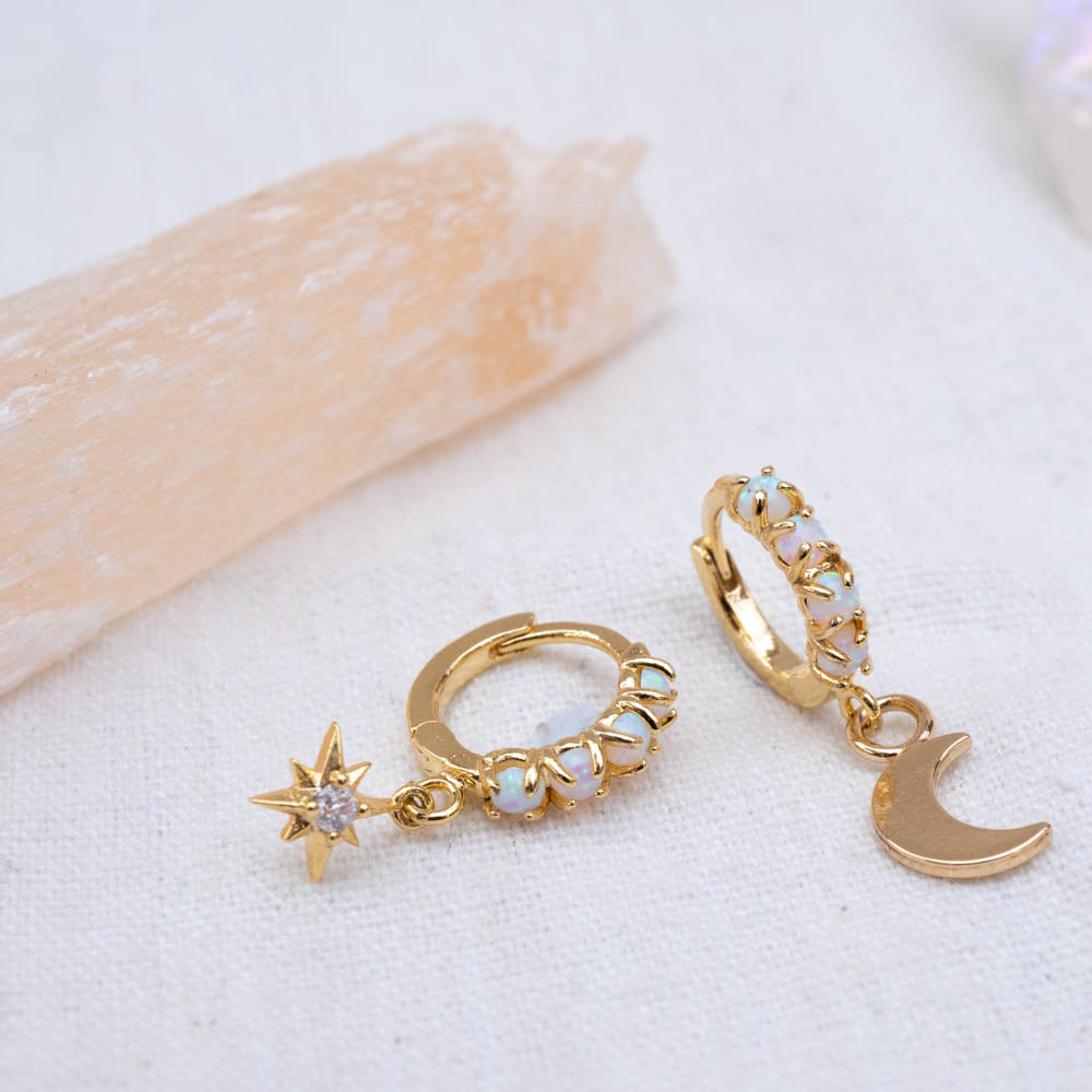 Opal hoops with charms