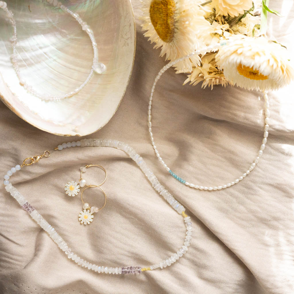 Moonstone and pearl necklaces