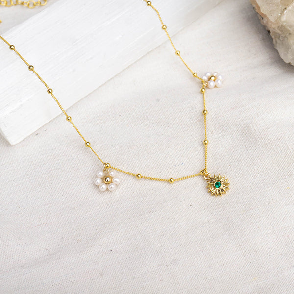 Emerald Sun + Daisy Flower Necklace