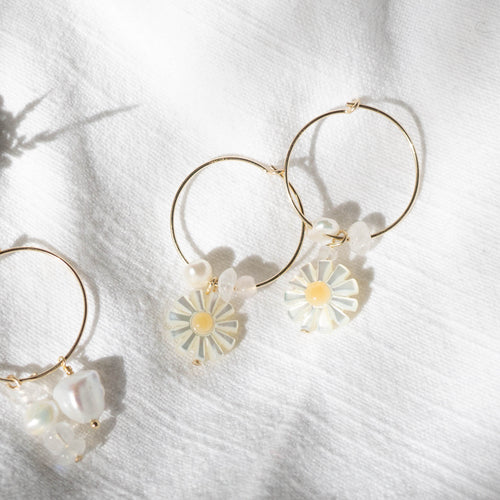 daisy pearl gold filled hoops
