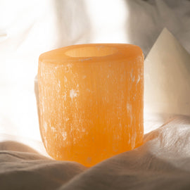 Peach Selenite Tealight Holder