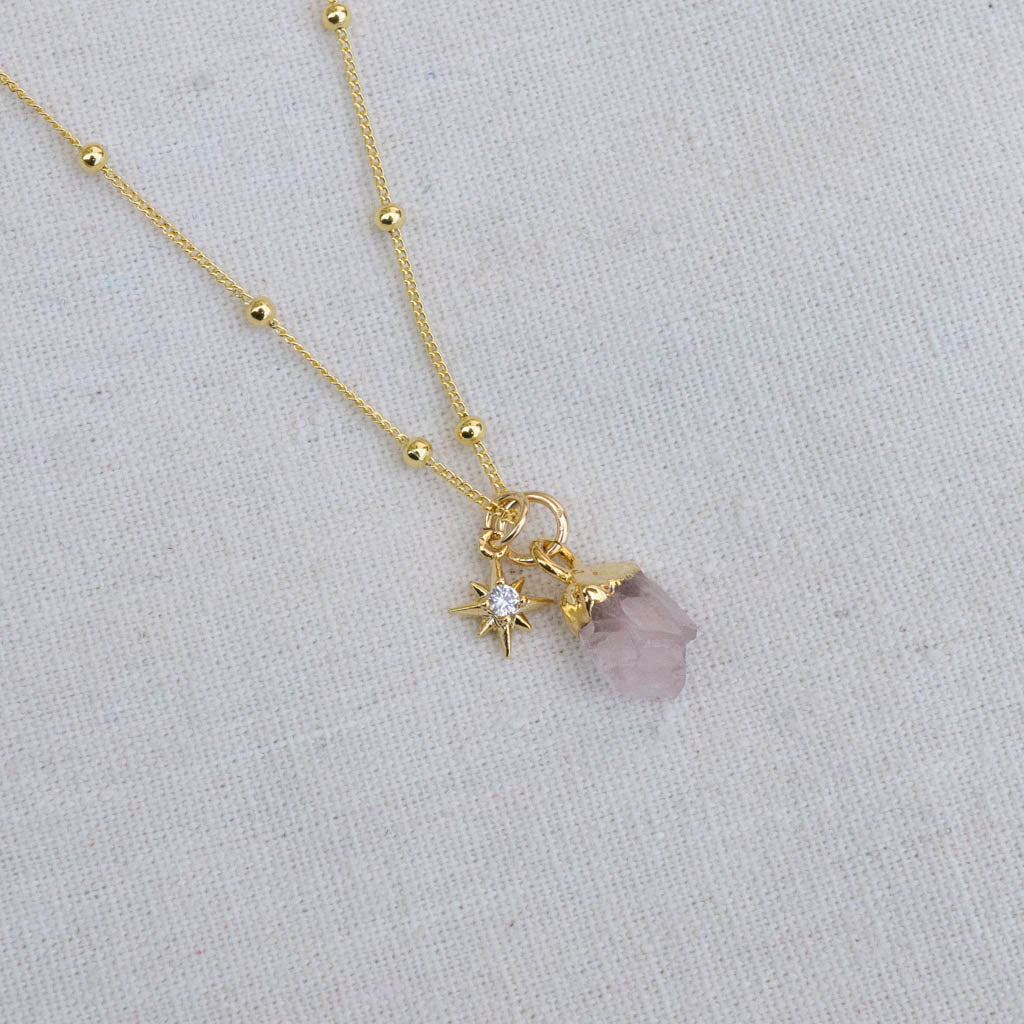 Rose Quartz and North Star necklace
