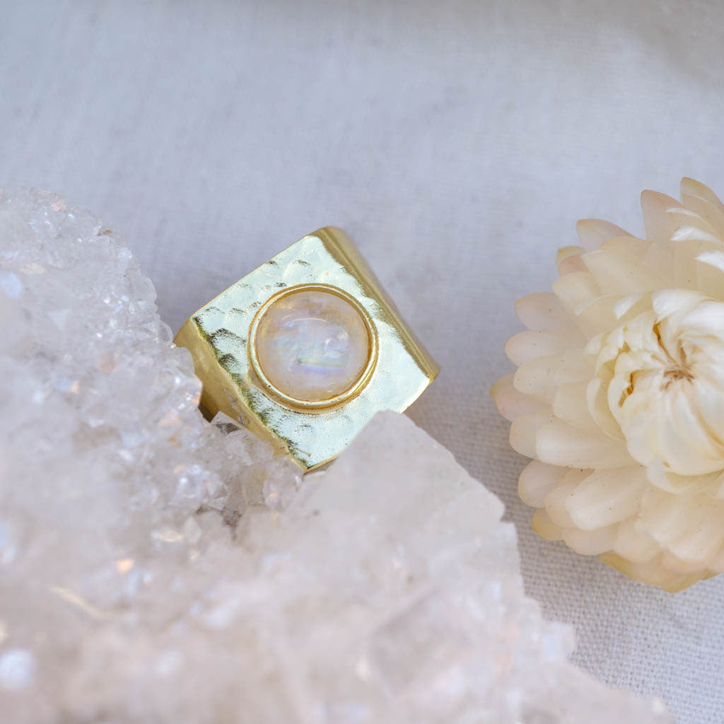 Moonstone Goddess Gold Ring