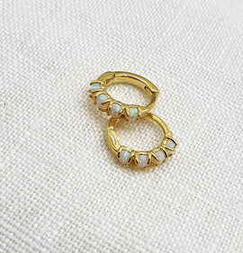 Opal 'Bonbon' Gold Mini Hoops