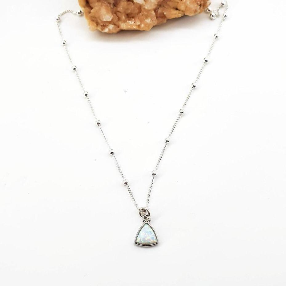 Opal Traingle Pendant Sterling Silver Necklace