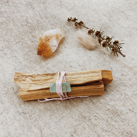 Palo Santo Sticks with Green Calcite and Citrine