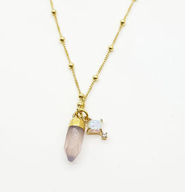 Rose Quartz + Opal Necklace