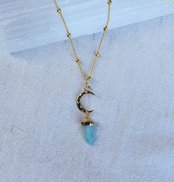 "Amazonite ""Blue Moon"" - Gold Necklace"