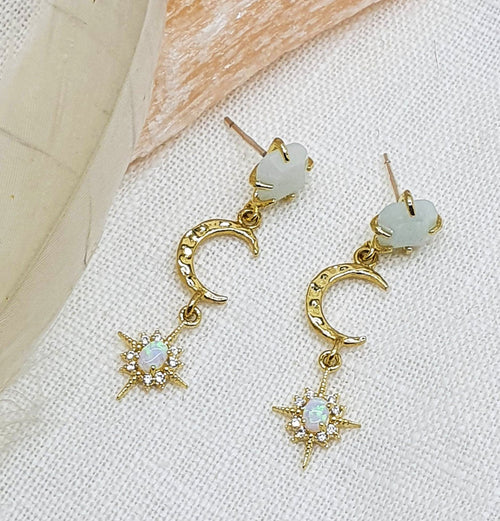 Amazonite 'Lana Star' Gold Earrings