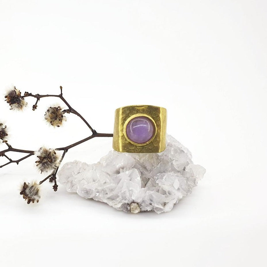 amethyst gold goddess ring