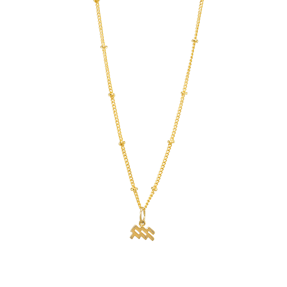 Aquarius symbol gold charm necklace