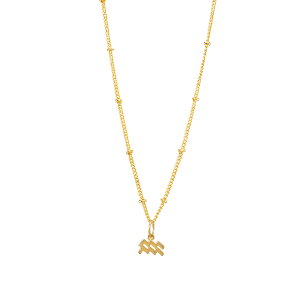 Aquarius Gold Zodiac Symbol Necklace