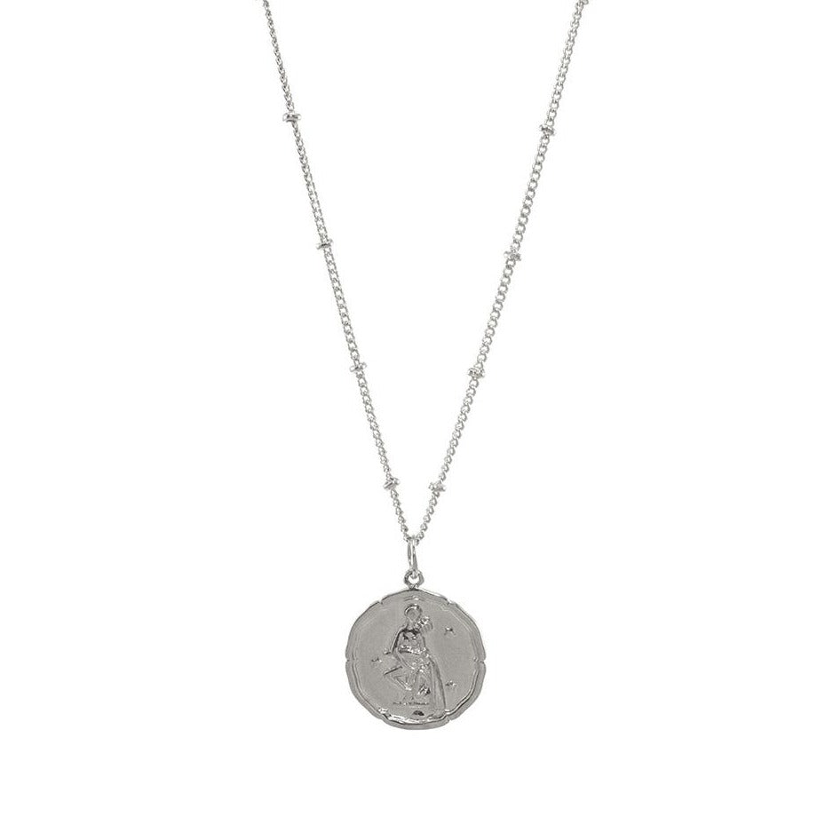 Aquarius zodiac sign silver necklace