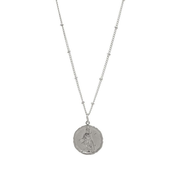 Aquarius Silver Coin Necklace