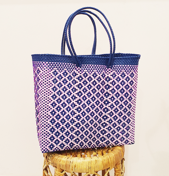Mexi Tote Bag Medium - Navy & Pink