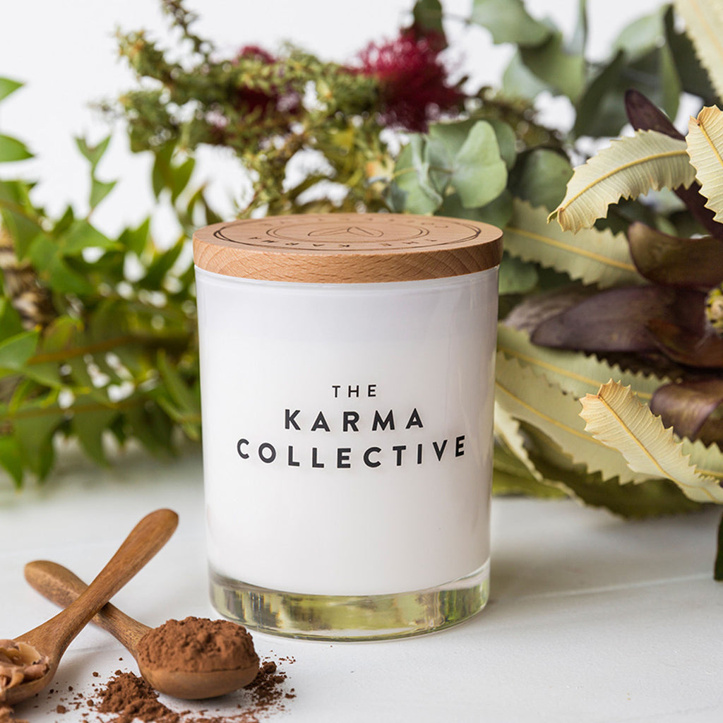 cacao and amber scented soy candle by karma collective