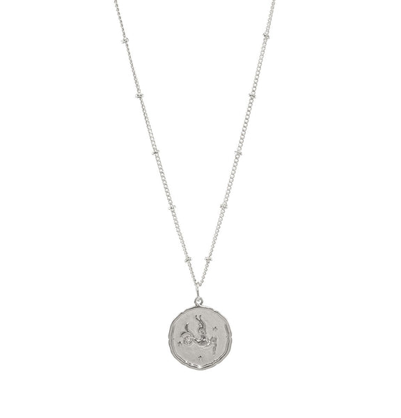 Capricorn Silver Coin Necklace