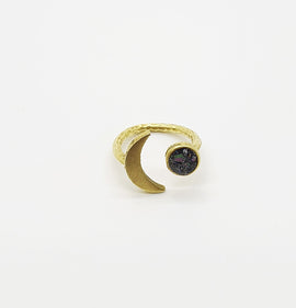 Silicone Carbide Gold Moon Ring