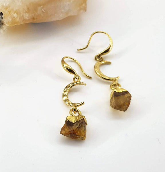Citrine + Moon Drop Earrings