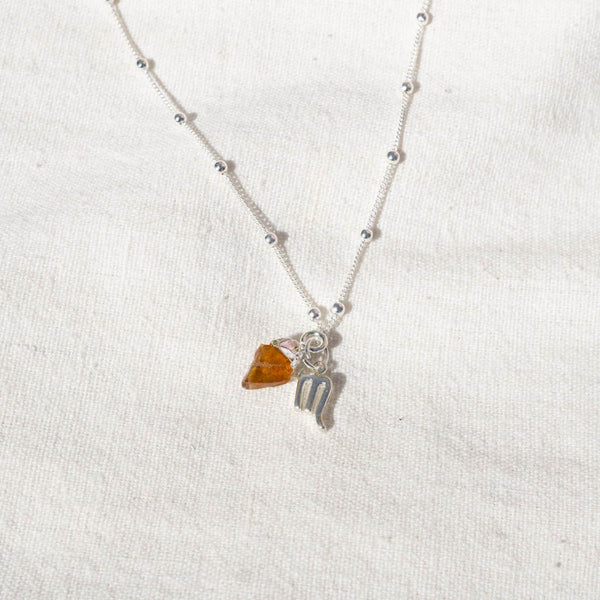 Citrine Scorpio Sterling Silver Necklace