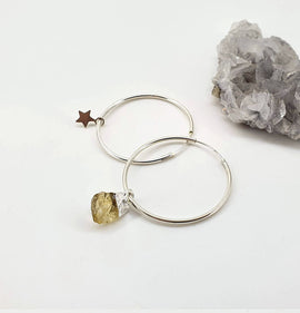 Citrine Star Sterling Silver Hoops