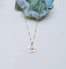 'Journey' Compass - Sterling Silver Necklace