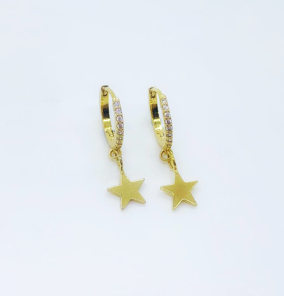 Cubic Star Gold Hoops