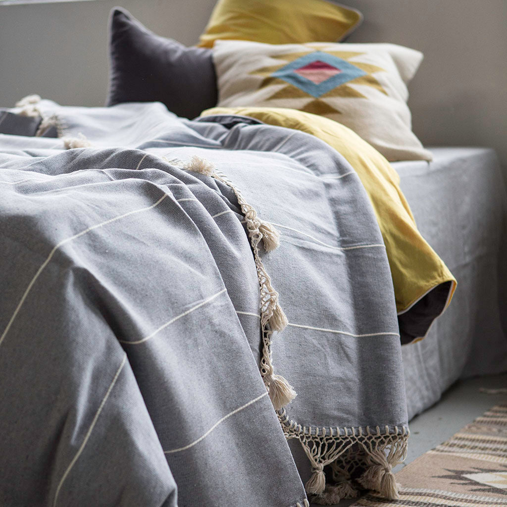 bed throw dusty blue
