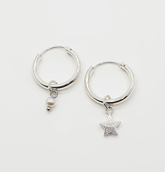Pearl and Star Sterling Silver Hoops