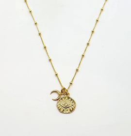 Evil Eye Coin + Moon Crescent Gold Vermeil Necklace