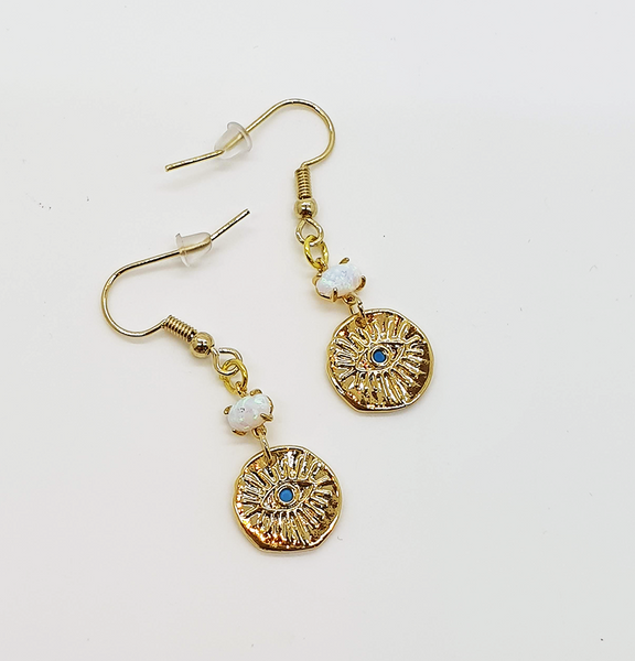 Opal Turquoise Eye Earrings