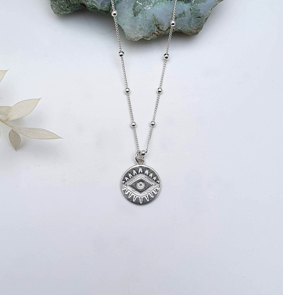 Evil Eye Necklace Sterling Silver