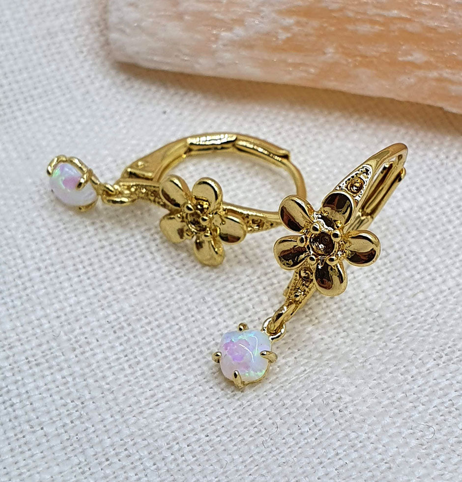 FlowerChild Opal Gold Earrings