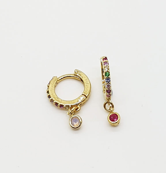 Rainbow Gemstone Mini Hoops