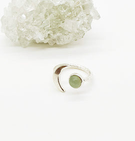 Green aventurine Sterling Silver moon ring